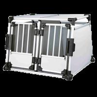 Doppel-Transportbox o. Hunde-Autobox Aluminium f. zwei Hunde, 93 x 64 x 88 cm