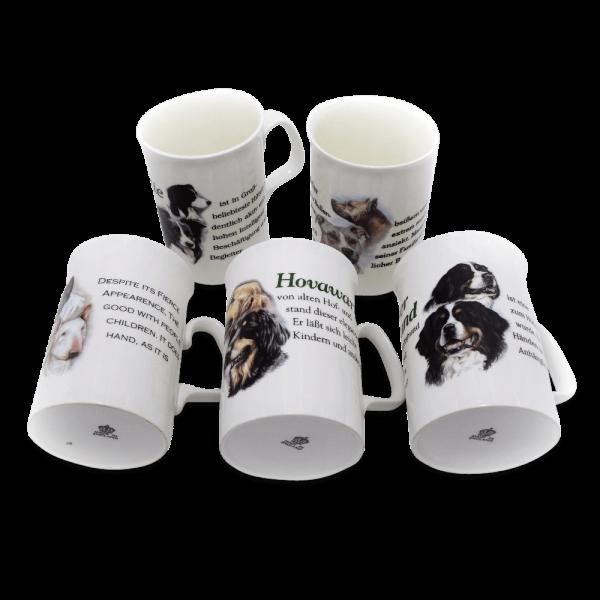 Porzellan Kaffeebecher mit Hundemotiv