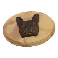 Marmor Plakette mit Hundekopf Französische Bulldogge