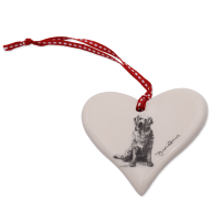Keramik-Herz mit Hundemotiv Victoria Armstrong Collection Golden Retriever