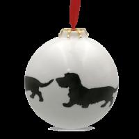 Christbaumkugel mit Hundemotiv Rauhhaardackel