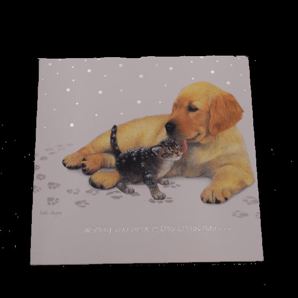Grußkarten zu Weihnachten mit Golden Retriever Welpe und Katze