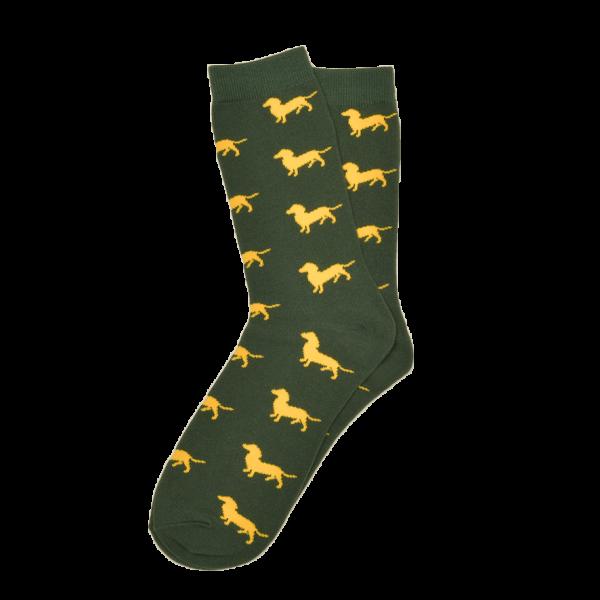 Dackel Socken Grün - Krawattendackel