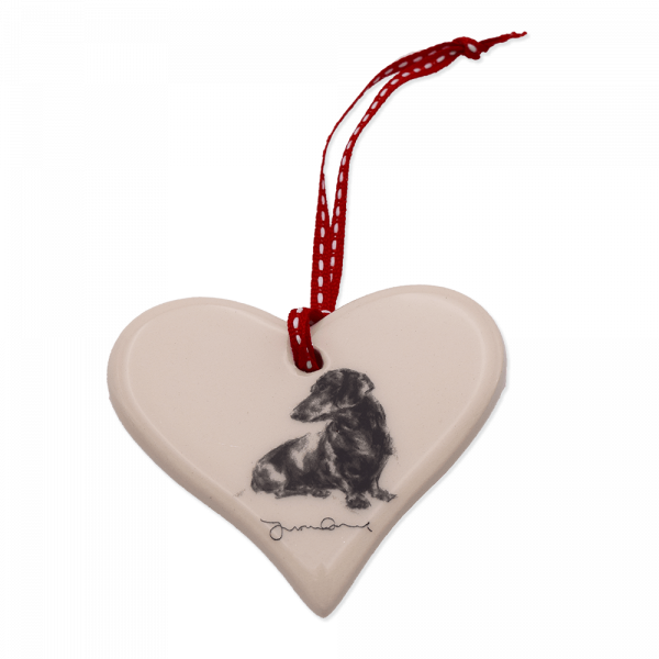 Keramik-Herz mit Hundemotiv Victoria Armstrong Collection