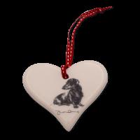 Keramik-Herz mit Hundemotiv Victoria Armstrong Collection Dackel