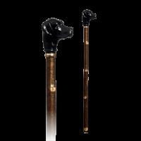 Walkingstick - Jagdstock mit Labrador-Kopf, schwarz
