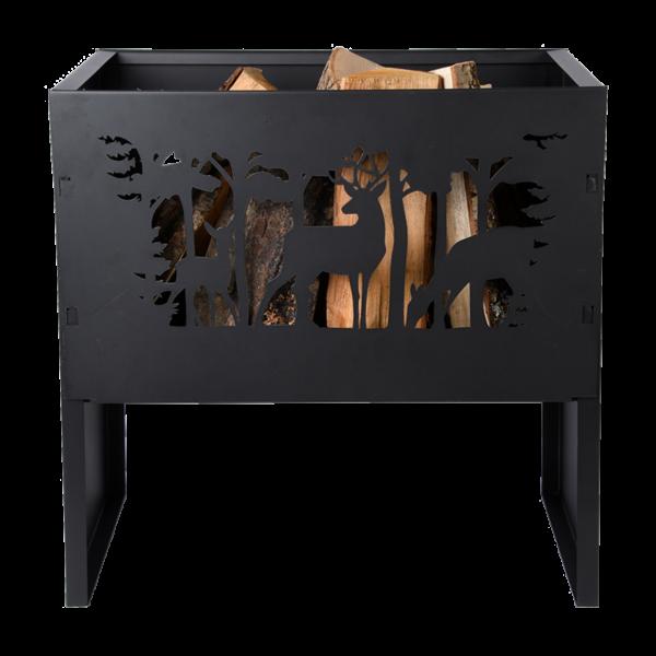 Feuerschale mit Waldmotiv Hirsch